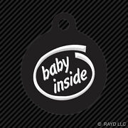 Baby Inside Keychain Round With Tab Dog Engraved Many Colors Car Safety Infant