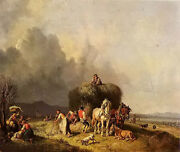 Oil Painting Heinrich Burkel - Loading The Hay Wagon Villagers And Carriage Canvas