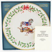 Lenox China 2nd Annual Holiday Christmas Plate 1992 Rocking Horse And Toys Mib Coa