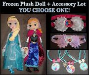 One Frozen Anna Elsa Doll + Headband Or Bottle Cap Bling Necklace You Choose One