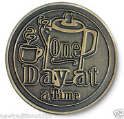 One Day At A Time Coffee Pot 12 Step Recovery Program Brz Coin /token/chip