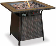 Square Gas Outdoor Fire Pit Handmade Tile Mantel Electronic Ignition Flame Bowl