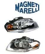 For Audi A4 05-09 Set Of Left And Right Headlight Assembly Halogen Magneti Marelli