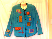 Julia Kim Wearable Art Sweater Glass Buttons Turquoise Size Large