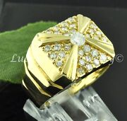 14k Solid Yellow Gold Mens Menand039s Cluster Natural Diamond Ring Made Usa 1.25 Ct