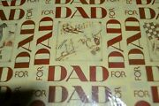 2 Vtg Dad Paper Gift Wrap Old Fashioned Weather Vane Camera Train Fire Nip