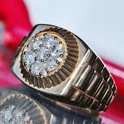 Vintage 14k Yellow Gold 1.30ct Natural Diamond Size 10 Ring 10.3gr