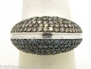 Splendid Ladies 14k White Gold 2 Cts. Champagne And Blue Round Diamonds Dome Ring