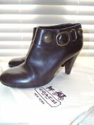 Nwot Coach Ankle Boots Booties Alexie Polished Calf Leather Chestnut Brown Sz 7