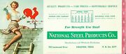 Ink Blotter National Steel Products Houston Texas Gil Elvgren Pin-up 1955