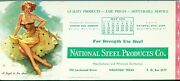 Ink Blotter National Steel Products Houston Texas Gil Elvgren Pin-up 4 1955