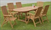 Marl 7-pc Outdoor Teak Dining 94 Oval Extension Table, 6 Reclining Arm Chairs