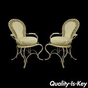 Pair Vintage Hollywood Regency Lattice Wrought Iron Patio Lounge Arm Chairs A