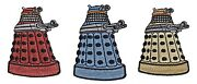 Doctor Who Set Of 3 Red, Blue And Yellow Daleks 3 Tall Embroidered Patches