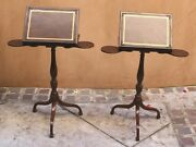 Pr Of 19c English Walnut Side Table Adjustable Reading Book Cup Holders Stands