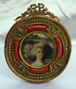 Magnificent 19c French Enameled Dore Bronze Round Picture Frame Signed