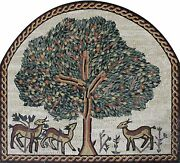 Artistic Arched Tree Of Life Animals Rope Border Mural Decor Marble Mosaic Fl949