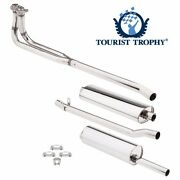 New Complete Exhaust System Polished Stainless Pipes Muffler And Hardware Mgb 569