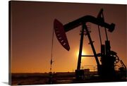 Silhouette Of Oil Pump Jack On Rig Canvas Wall Art Print, Photography Home Decor