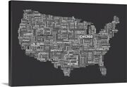 United States Cities Text Map Grey Canvas Wall Art Print Map Home Decor