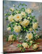 Princess Diana Roses In A Cut Glass Vase Canvas Wall Art Print Rose Home Decor