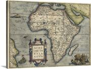 Antique Map Of Africa, 1570 Canvas Wall Art Print, Map Home Decor