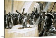 Christ Carrying The Cross Canvas Wall Art Print, Christianity Home Decor