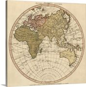 Antique Map Of The Eastern Hemisphere Canvas Wall Art Print Map Home Decor
