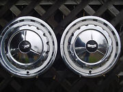 Two 1957 57 Chevrolet Chevy Belair Impala Nomad Hubcaps Wheel Covers Center Caps