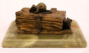 Magnificent 1900's French Bronze Onyx Box , Mouse On Top Of The Box