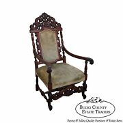 Antique 19th Century Heavily Carved Mahogany Renaissance High Back Throne Chair