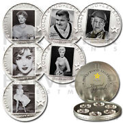 """2010-2011 Silver """"legends Of Hollywood"""" 6-coin Set - Movie-reel Collector Case"""