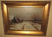 Finely Executed 19th Century American Oil On Canvas Landscape Antique Painting