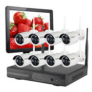 8ch Security Camera System 8ch Wireless Ourdoor W/ 8720p Ip Cameras 15 Monitor