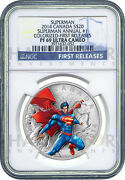 2014 Canada 20 Superman Silver 1 Oz. - Ngc Pf69 First Releases - Only 22 Exist