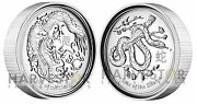 2012 Australian Dragon And 2013 Snake 1 Oz. Silver High Relief Proofs – Lunar Pair
