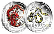 2012 Australian Dragon And 2013 Snake 1 Oz. Silver Colorized Proofs – Lunar Pair