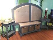 Farmhouse Grey Distressed French County King Headboard, Bench, 2 Nightstands