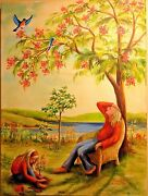 Painting Mother And Daughter Under A Tree Home Decor Women Art Children 18x24