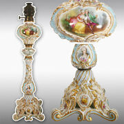 28.35andrdquo Tall Rare Hand Painted French Porcelain Lamp Late19th To Early 20th