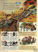 1965 Paper Ad 2 Sided Ideal Battle Action Toy Soldiers Ambush Set D Day Us Troop