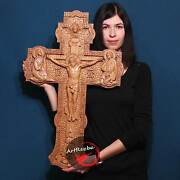 Jesus On The Cross Large Wood Orthodox Religious Carved Crucifix 32 X 20