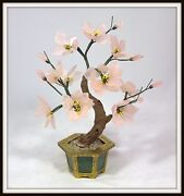 Hand Carved Chinese Rose Quartz Tree In A Brass And Jade Pot 11 H X 9 W