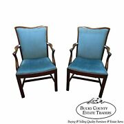 Schmieg And Kotzian Solid Mahogany Pair Of Chippendale Style Arm Chairs