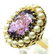 Victorian Era 7.50 Carat Amethyst And Pearl Handcrafted 14 Karat Yellow Gold Ring