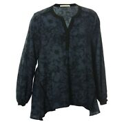 Everleigh 1x Blue And Black Print Long Sleeve Lace Inset Blouse Nwt Free Ship Plus