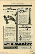 1925 Paper Ad Manley Car Auto Automobile Gas Station Air Water Tire Pump