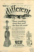 1927 Paper Ad Eco Gas Gasoline Station Air Tire Pump Rings The Bell