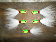 5 Chartreuse Ultra Minnow Bucktail Jigs + 1 Spro Swivel Weight And Hook Choice