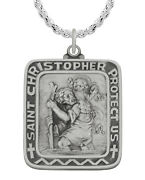 Menand039s 1 3/8in 0.925 Sterling Silver St Saint Christopher Medal Pendant Necklace